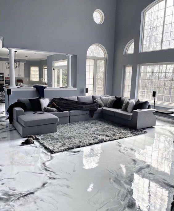 Contoh Produk Lantai Dekoratif Ruang Tamu Rumah